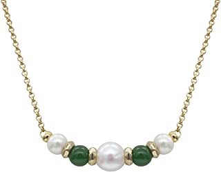 Stellia Radiant Pearl and Jade Necklace 24K Gold Chain