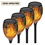 4-Pack Solar Lights Outdoor, Upgraded Brighter 33 LED Solar Torch Light with Flickering Flame, Waterproof Landscape Lighting Decoration Lights for Patio Pathway Garden - Dusk to Dawn Auto On/Off