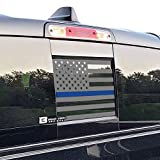 Bogar Tech Designs Rear Back Middle Window American Flag Vinyl Decal Compatible with and Fits Dodge Ram 2009-2021, Thin Blue Line