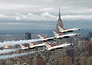 Six F-16 Fighting Falcons with the US Air Force Thunderbirds fly in delta formation Poster Print by Stocktrek Images (34 x...
