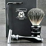 Classic DE Safety Razor & Pelo Sintético cepillo de afeitado Set de regalo + cuchillas gratis!!