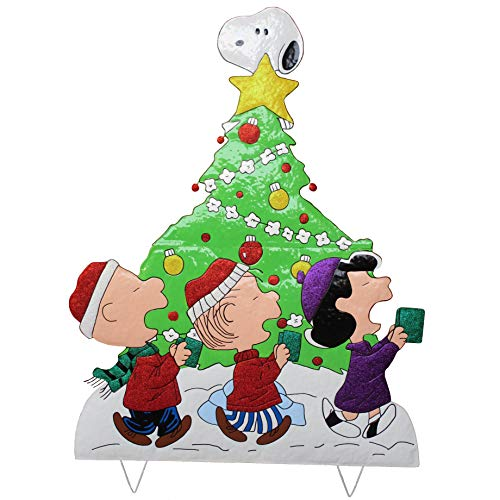 42' Peanuts Gang Caroling Around The Tree Metal Yard Art Christmas Decor - Features Charlie Brown, Snoopy, Linus and Lucy