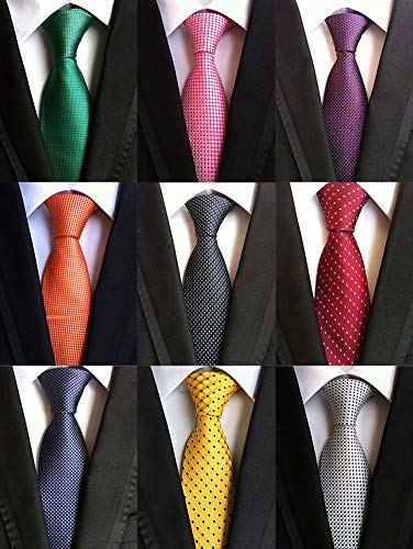 Adulove Men's Necktie Classic Silk Tie Woven Jacquard Neck Ties 9 PCS
