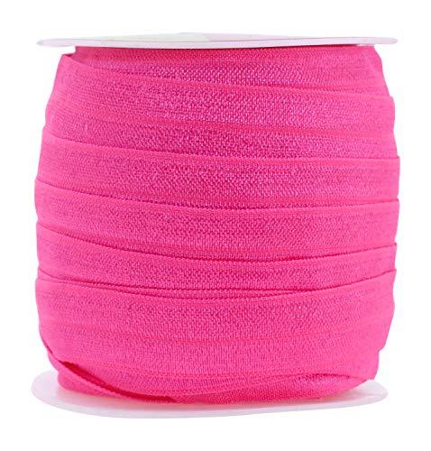 Mandala Crafts Fold Over Elastic Band 5/8 Inch Foldover FOE Stretch Ribbon for Hair Tie Headband Baby Girl Hair Bow Hot Pink 1.5CM 5/8 Inch 20 Yards Roll