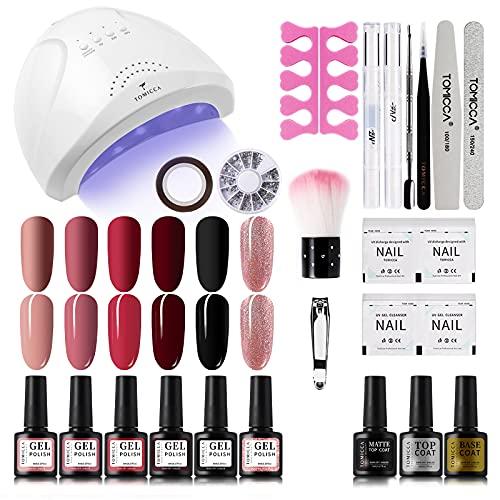 TOMICCA 6 Farben Nude und Glitter Nagellack Starterset mit 48W UV/LED Nagellampe und Maniküre Werkzeug für UV Nageldesign Gel Nail Kit