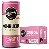 Remedy Raw Organic Kombucha Tea - Sparkling Live Cultured Drink - Sugar Free Raspberry Lemonade - 8.5 Fl Oz Can, 12-Pack