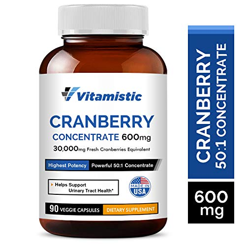 Vitamistic Organic Cranberry 50:1 Whole Fruit Concentrate 600mg, 90 Veggie Capsules, Equivalent to 30,000mg of Fresh Cranberries, Non-GMO Dairy Soy Free, Supports Bladder and Urinary Tract Health