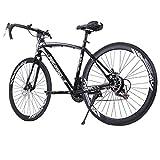 Road Bike 700C Wheels 21 Speed Disc Brake Bicycle (Black)