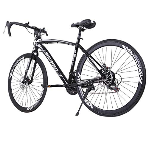 Road Bike 700C Wheels 21 Speed Disc Brake Bicycle (Black)