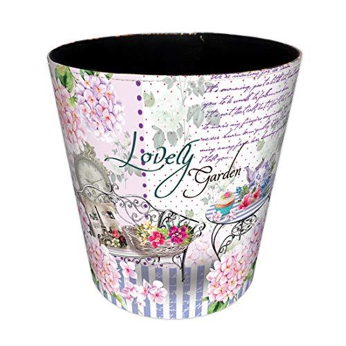 Mecotech Papierkorb Kinder Mädchen mit Blumen Motiv, 10 Liter Wasserdicht Mülleimer Papierkorb für Kinderzimmer/Schlafzimmer Deko, 26 x 26 x 20cm