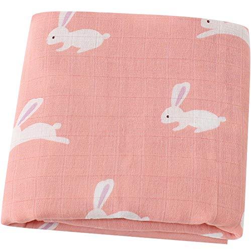 """Lebze Muselina Manta Bebé -""""Diseño de Conejo"""" Bambú Algodón Grande 120x120 cm - Mantas Envolventes para Bebés"""