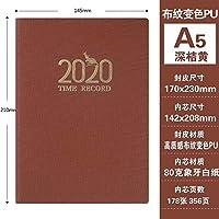 A5緑:2020スケジュール365日ビジネスオフィスのノートブック-A5ダークGreen_、色名称ノートブックノートパッド (Color : A5 deep orange)