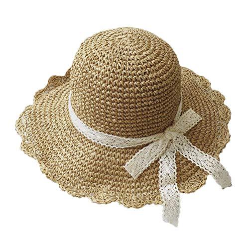 IPENNY Sonnenhut Falten Strandhut Spitze Strohhut mit Schleife handgemachte Häkeln Hut mit großen Krempe für Reisen Urlaub Hellbraun Kinder Modelle(3-7 Jahre alt)