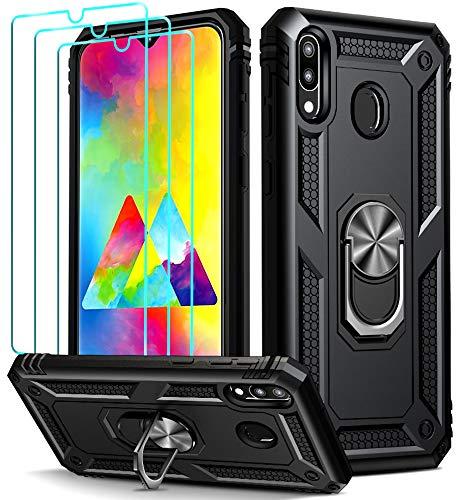 ivoler für Samsung Galaxy M20 Hülle mit [Panzerglas Schutzfolie *3], Militärischer Schutz Stoßfest Handyhülle Anti-Kratzer Schutzhülle Case Cover mit 360 Grad Ring Halter, Schwarz