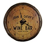 """THOUSAND OAKS BARREL Personalized 'Wine Bar' Decorative Barrel End Clock, 21"""" (B829) with High Torque Motor 