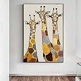 KWzEQ Imprimir en Lienzo Funny Giraffe Living Room HD Print Canvas Oil Painting Home Decor50x75cmPintura sin Marco