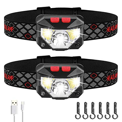 AIRSSON Head Lamp Rechargeable Waterproof: 1000 Lumen Led Headlamp and 60° Rotatable Headlighting with Motion Sensor for Adults (2 packs)