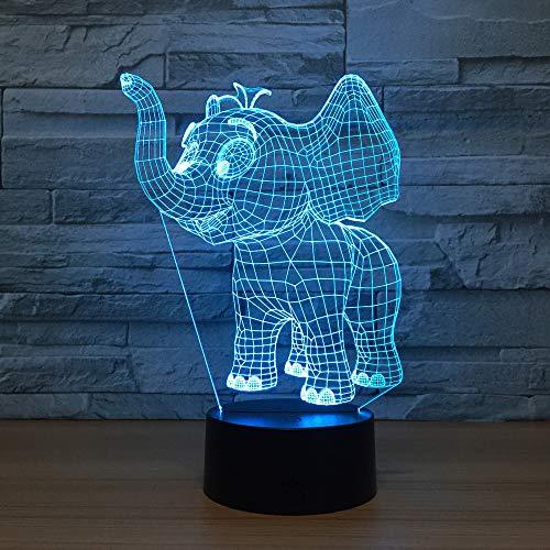 3D Veilleuse Enfant LED Lampe de Chevet Optiques Illusions Lampe de Nuit 7 Couleurs Ajustables Câble USB Cadeau Jouets (L'Éléphant),Interrupteur Tactile