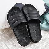 WENHUA Zapatillas de Playa Hombre Y Mujere, Zapatillas de para Hombre para Verano para Adultos, Pantuflas de baño de Arrastre de Palabra de Fondo Suave para Mujer, Black_37