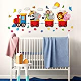 R00125 Adesivo murale per Bambini - Animaletti viaggiatori - Misure 100x30 cm - Decorazione Parete, Adesivi per Muro, Carta da Parati Adesiva Effetto Tessuto