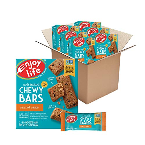 Enjoy Life Chewy Bars, Carrot Cake Nut Free Bars, Soy Free, Dairy Free, Non GMO, Gluten Free, 6 Boxes (30 Total Bars)
