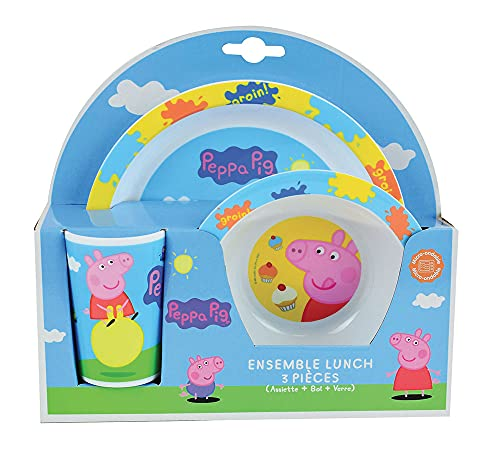 FUN HOUSE 005175 Peppa Pig Ensemble de Repas pour Enfants - 3 pièces, Polypropylène, Bleu, 26,5 x 7 x 25 cm