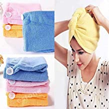 Wazdorf Quick Turban Hair-Drying Absorbent Microfiber Towel/Dry Shower Caps/Bathrobe Hat/Magic Hair Wrap for Women hair wrap(Multi Color)