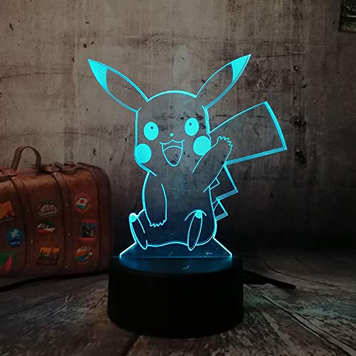Novedad Pokemon Cute Pikachu Go Figura de acción Atmósfera 3D Ilusión Luz nocturna Dormitorio Regalo para niños Creativo Lámpara 3D png