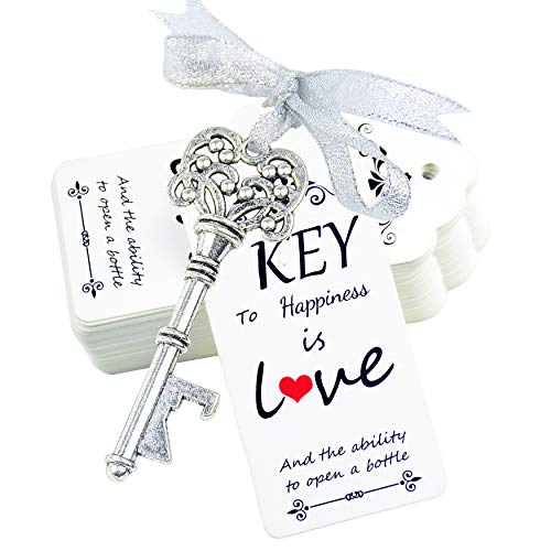 Aokbean 52pcs Antique Rustic Vintage Skeleton Key Bottle Opener Wedding Favor Guest Souvenir Gift Set with Escort Thank you Card and Ribbons Antique Silver