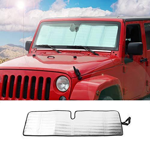 Windshield Sunshade Car Sun Shade Heat Shield JK Custom-fit Sunshade Sun Visor Mat for 1997-2017 Jeep Wrangler Rubicon Sahara TJ JK JKU 2/4 Doors
