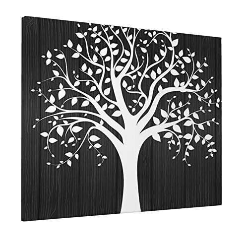 "Tree of Life Decor Minimalist Branch Leaf Nature Silhouette Foliage Spiritual Illustration Grey Whitepainting 16"" X 20"" Panoramic Canvas Wall Art"