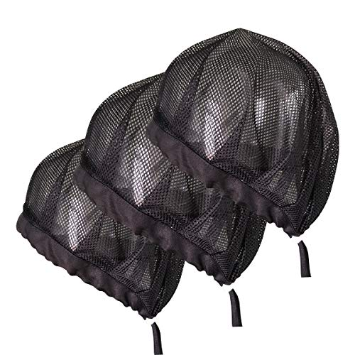 Adjustable Chef Cap Elastic Cooking Hat Food Service Hair Nets Mesh Kitchen Net Reusable Restaurant Bouffant (Large, Drawstring Black mesh)