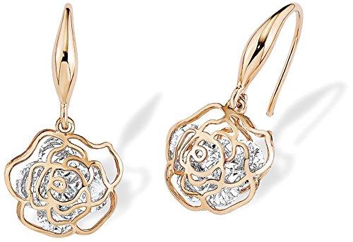 Noelani Damen-Ohrhänger Rose Blume rosévergoldet veredelt mit Swarovski Kristallen 26 mm
