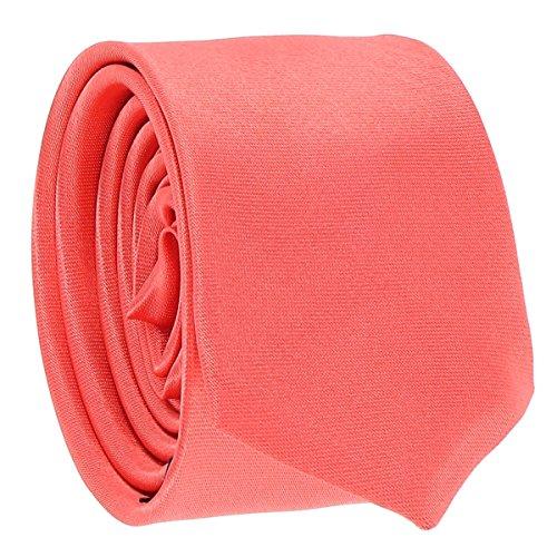 Cravate Fine Corail - Cravate Homme Coupe Slim Moderne - 5cm à la Pointe - Couleur Unie - Accessoire Chemise pour Mariage, Cérémonie