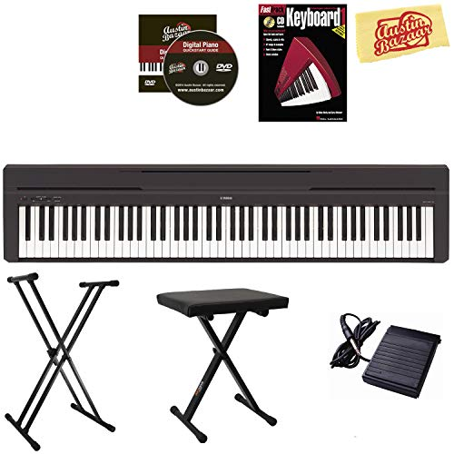 Yamaha P-45 Digital Piano - Black Bundle with Adjustable Stand, Bench, Instructional Book, Austin Bazaar Instructional DVD, Online Lessons, and Polishing Cloth