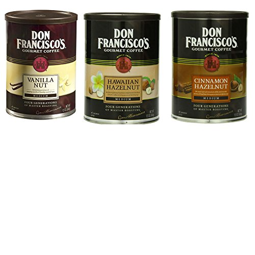Don Francisco Coffee Bundle with 1 Can Each of Don Francisco Cinnamon Hazelnut Flavored Ground Coffee, Ground Vanilla Nut Coffee, and Don Francisco Hawaiian Hazelnut Flavored Coffee