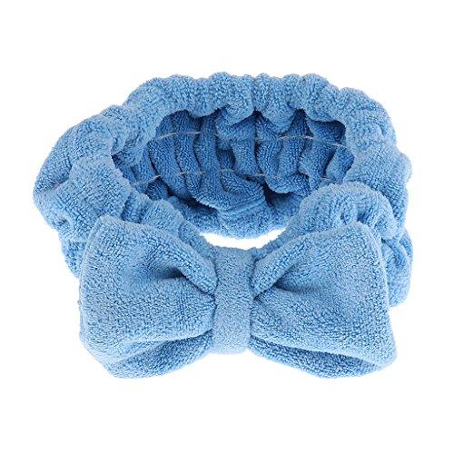 MagiDeal Mignon Nœud à Deux Boucles Bandeau Bande Elastique Serre Tete Cheveux Maquillage Douche Baignoire Spa - Bleu