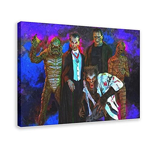 Drácula Wolfman Momia Frankenstein Gillman Criatura Laguna Negra Mark Spears Monstruos Art Poster Lienzo Póster de la pared Arte de la Decoración de Cuadros para Sala Dormitorio Marco Decorativo:16×