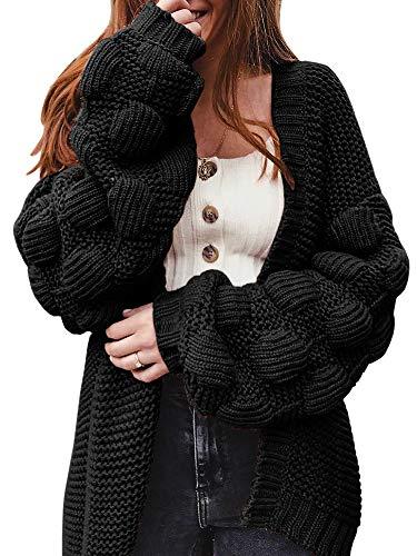 Ferbia Women Oversized Cardigan Knitted Cute Chunky Sweaters Wrap Long Fall Pom Pom Open Front Knit Black