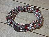 Bau[m]werk Handmade in Germany Armband Toho Glasperlen Fukettchen Perlen Wickelarmband Halskette Damen silber grau rot Hippie Boho Ibiza Style