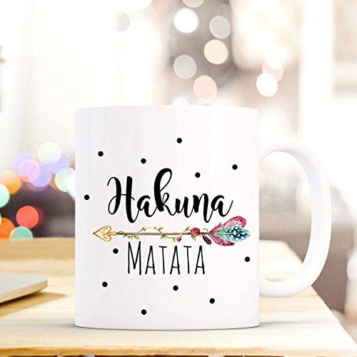 ilka parey wandtattoo-welt Tasse Becher Kaffeebecher mit Spruch & Punkte Hakuna Matata Kaffeebecher Geschenk ts673