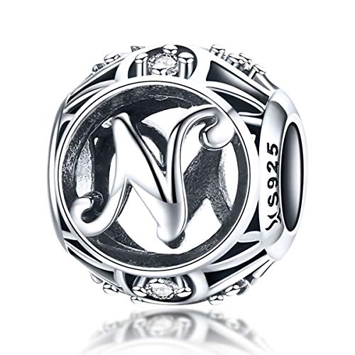 Charm-Anhänger Buchstabe Buchstabe 925 Sterling Silber passend für Pandora-Armbänder