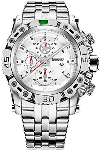 Reloj de cuarzo para hombre con calendario y correa de acero, resistente al agua, 30 m, reloj de negocios, 123, blanco, Size