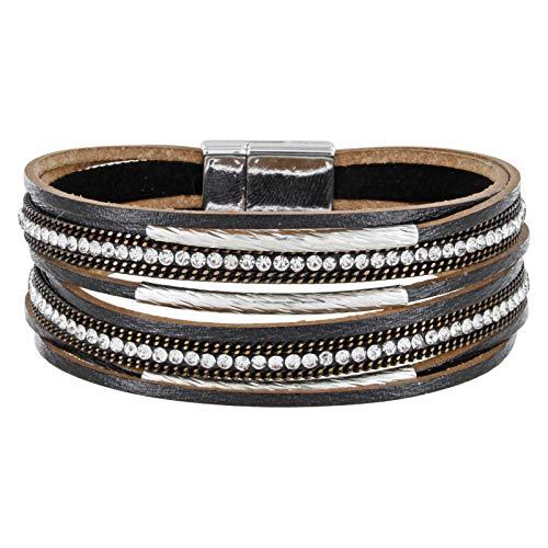 StarAppeal Armband Lederarmband mit Strass, Ketten und Schmuckelementen, Magnetverschluss Silber, Damen Armband (Schwarz)
