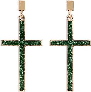 Exquisite Cross Earrings Dangle Cross Earrings for Men Women (Green)