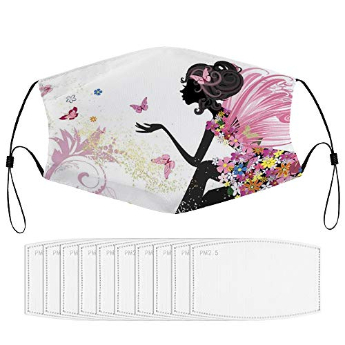 Roupaze Children Face Masks Butterfly Abstract Silhouette of A Girl with Pink Wings and A Floral Dress Spring Fairy Theme Art Multicolor Windproof Face Mouth Cover Balaclavas for Kids with 10 Filter