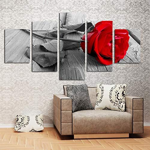 ZEMER Rosa Roja Floral CuadrosEn Lienzo Wall Art Pictures - Conjunto De Paneles Divididos En Gris Blanco Negro 5 Piezas para La Decoración del Hogar Sin Marco