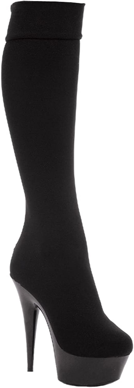 Ellie shoes Women's 609-LYCRA 6  Pointed Stilitto Lycra Knee High Boot