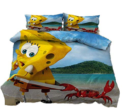 AmenSixye SpongeBob SquarePants Cartoon Bedding Set Duvet Covers Bed Linens Pillowcases Comforter Bedding Sets Bedclothes Bed Linen,180x210cm(3pcs)