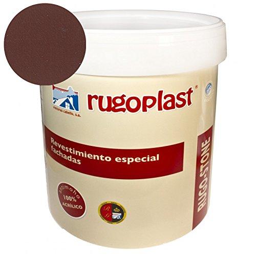 Pintura revestimiento especial fachadas Rugo Stone Colores ideal para dar un toque de color a las paredes exteriores de tu casa (4L, Marrón Café) Envío GRATIS 24 h.